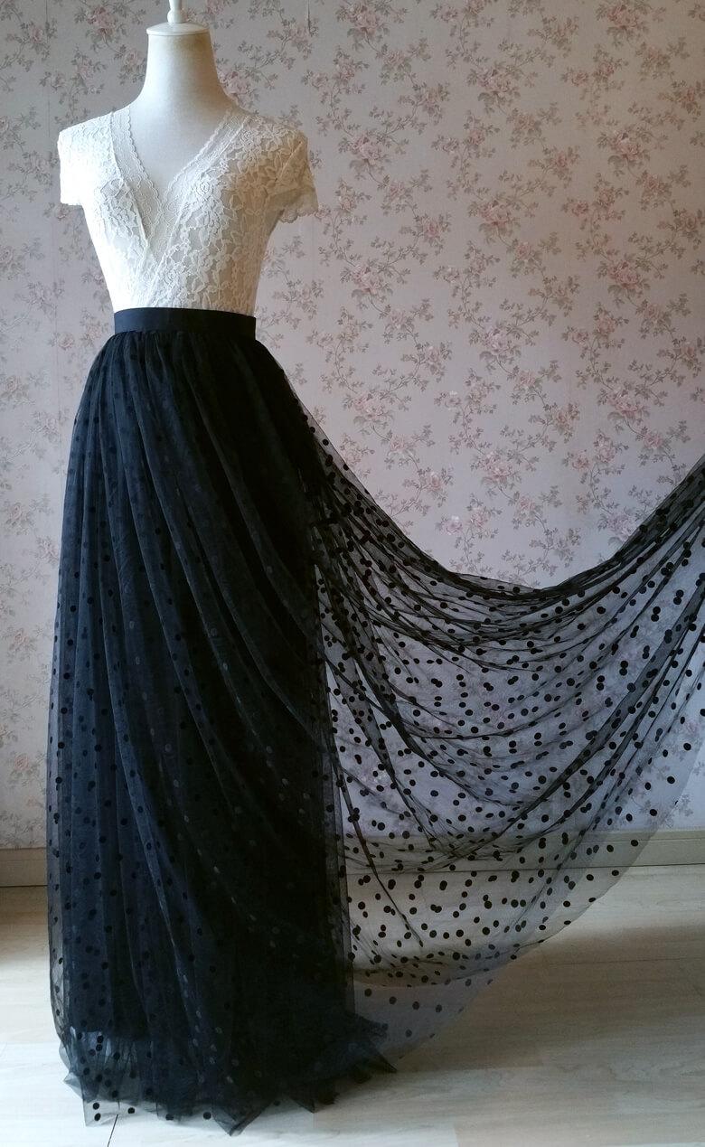 Maxi tulle skirt black dot vintage 4
