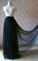 Black Polka Dot Tulle Skirt Black Long Tulle Skirts Outfit Black Maxi Skirt WT28 image 1