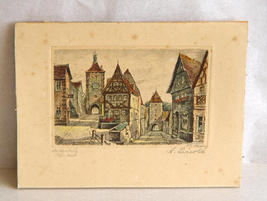 Early engraving Rothenburg ob der Tauber ca 1890 - $30.00
