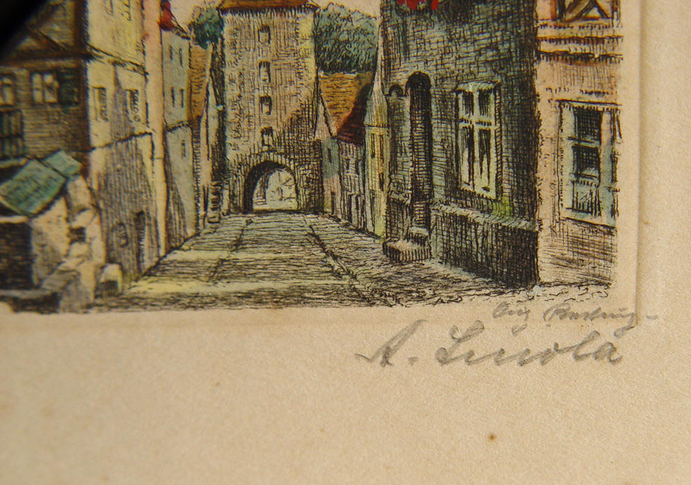 Early engraving Rothenburg ob der Tauber ca 1890