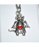 Enameled Heart Cat or Dog Angel Memorial Necklace  - $9.95