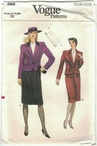 Vogue 8869 Pattern One Button Jacket & Knee Length Skirt Suit 1980s Size... - $14.69