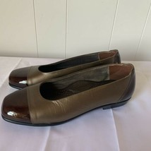SAS Womens COCO Cap Toe Slip On Flat Loafer Shoes Patent Leather Bronze 8 M - $39.57