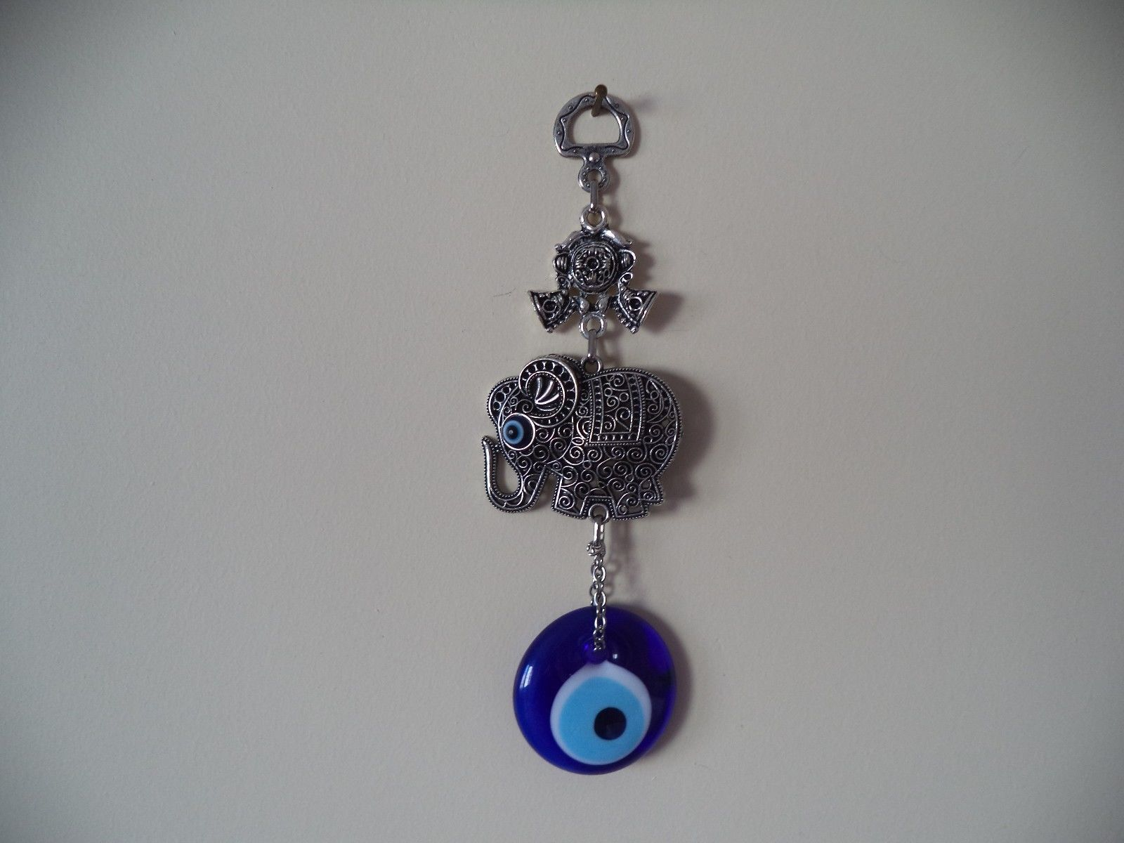 Wall Hanging Amulet Turkish Silver Plated Left Looking Elephant with Evileye