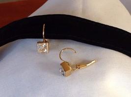 New NWT Annaleece 22 Karat Gold Square Clear Swarovski Stone Earrings image 4
