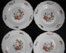 "Arc Arcopal Provincial Floral White Shallow Glass 9"" Soup Bowl  Set of 4 - $15.83"