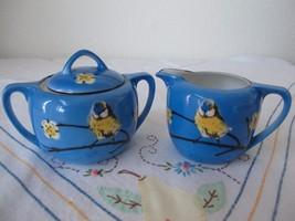 Royal Rudolstadt Prussia Germany Bluebird Bird Cream Sugar Handpaint Blu... - $17.75