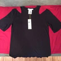 Bcbgeneration Black Short Sleeve Open Shoulder Tank Top Size Xxs - $12.86