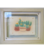 Framed Bah Relief Cacti Print Hand Molded Paper - $49.00