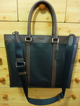 NWT COACH LARGE LEATHER BUSINESS TOTE BLACK/ MA... - $268.00