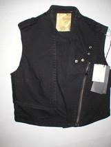 New NWT Womens 4 Designer Costume National Denim Moto Vest Black 40 Ital... - $240.00