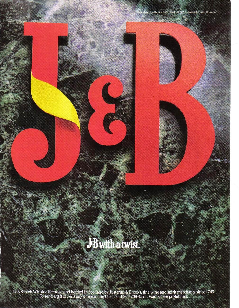 1987 J & B Blended Scotch Whisky Full Page Color Print Ad Original Near Mint