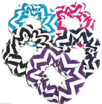 Chevron Fabric Hair Scrunchies by Sherry Teal Black Pink Navy Purple White Lot 5 - $32.95
