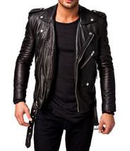 Men Leather Jacket Black Slim fit Biker genuine lambskin jacket - $94.99