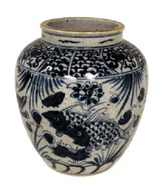 "Vintage Style Reverse Blue and White Porcelain Fish Motif Flower Vase 8"" - $108.89"