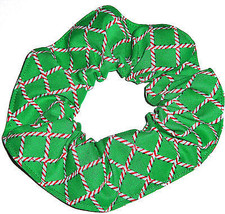 Christmas Candy Cane Green Fabric Hair Scrunchies by Sherry Ponytail  - $6.99