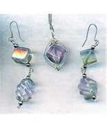 Fluorite Silver Wire Wrap Pendant Earrings Set 1 - $69.99