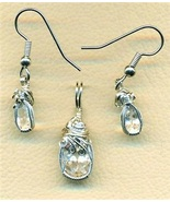 White Topaz Silver Wire Wrap Pendant Earrings S... - $69.99