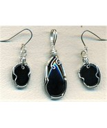Black Onyx Silver Wire Wrap Pendant Earrings Set 3 - $69.99