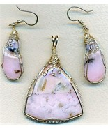 Pink Opal Gold Wire Wrap Pendant Earrings Set 8 - $89.99