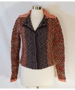 Free People Split Back Cardigan Multicolor Checker Printed Stripe Sweate... - $32.80