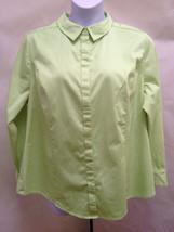 Lane Bryant Plus Size 24 Top Green Button Down Cotton Sateen Stretch Excellent - $19.58