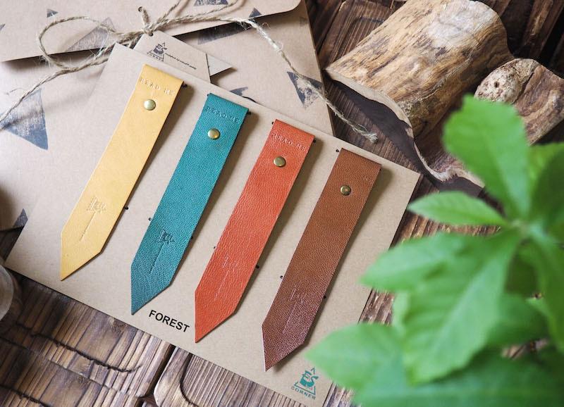 Handmade leather bookmark gift set burnt sienna yellow dark green brown escorner pb101022
