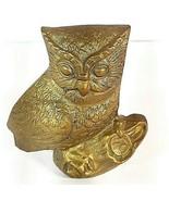 "Vtg Brass Wise Decor Owl Paperweight MCM Mid Century Figurine Art 3 1/2"" - $13.95"