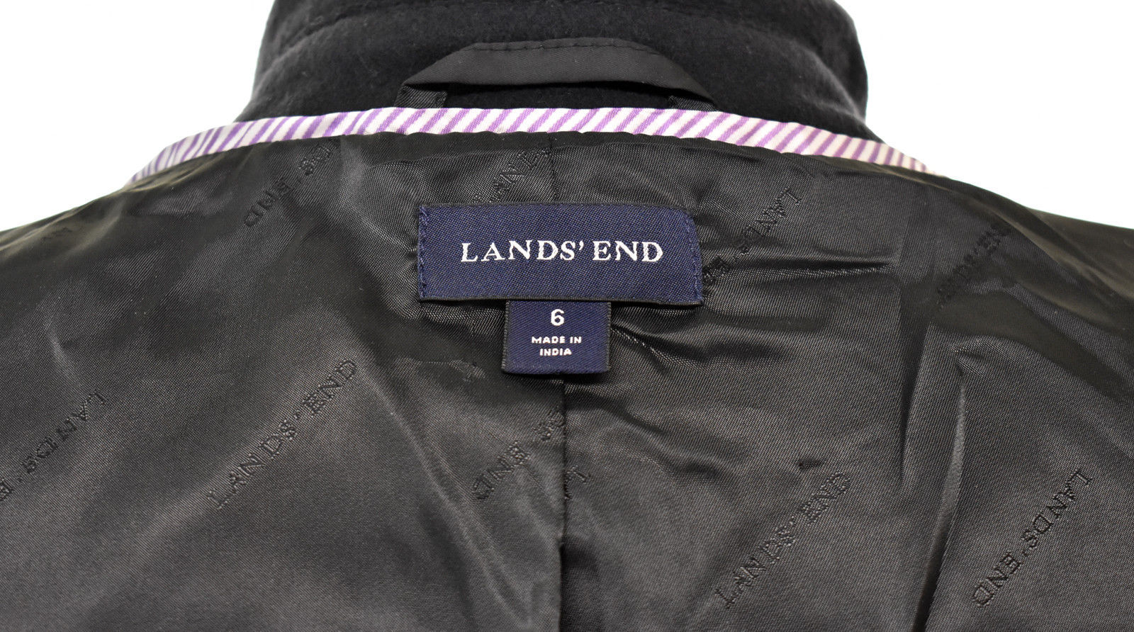 Lands' End Black Wool Blend Fully Lined Double Breasted Peacoat - Women's Size 6