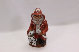 "Fireman Santa with Dalmation Ceramic Figurine 9"" - $23.03"