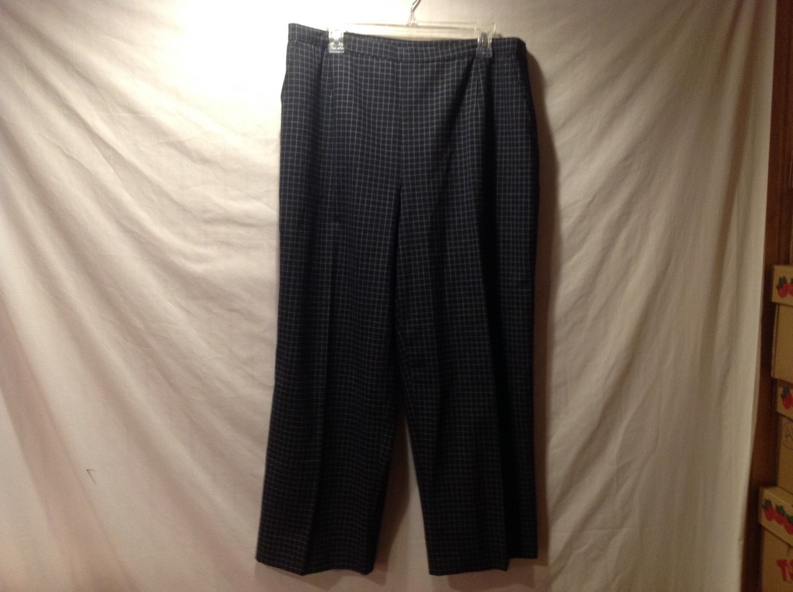 Marina Rinaldi Basic Black Dress Pants w/ White Grid Pattern