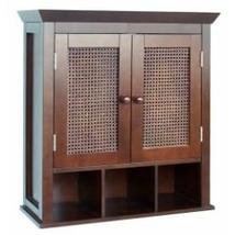 Espresso Hand-Woven Cane Panel 2-Door Wall-Hanging Bathroom Cabinet - $145.00