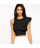 Sexy Women One Shoulder Ruffle Crop Top Round Neck Sleeveless Fitness Ta... - $18.00