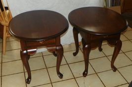 Pair of Solid Cherry Oval End Tables Side Tables by Broyhill - $599.00
