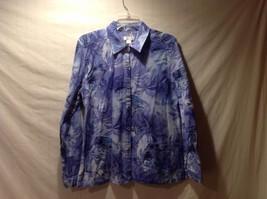 Christopher & Banks 100% Cotton Purple Tropical Pattern Button Up Size Medium