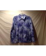 Christopher & Banks 100% Cotton Purple Tropical Pattern Button Up Size M... - $39.99