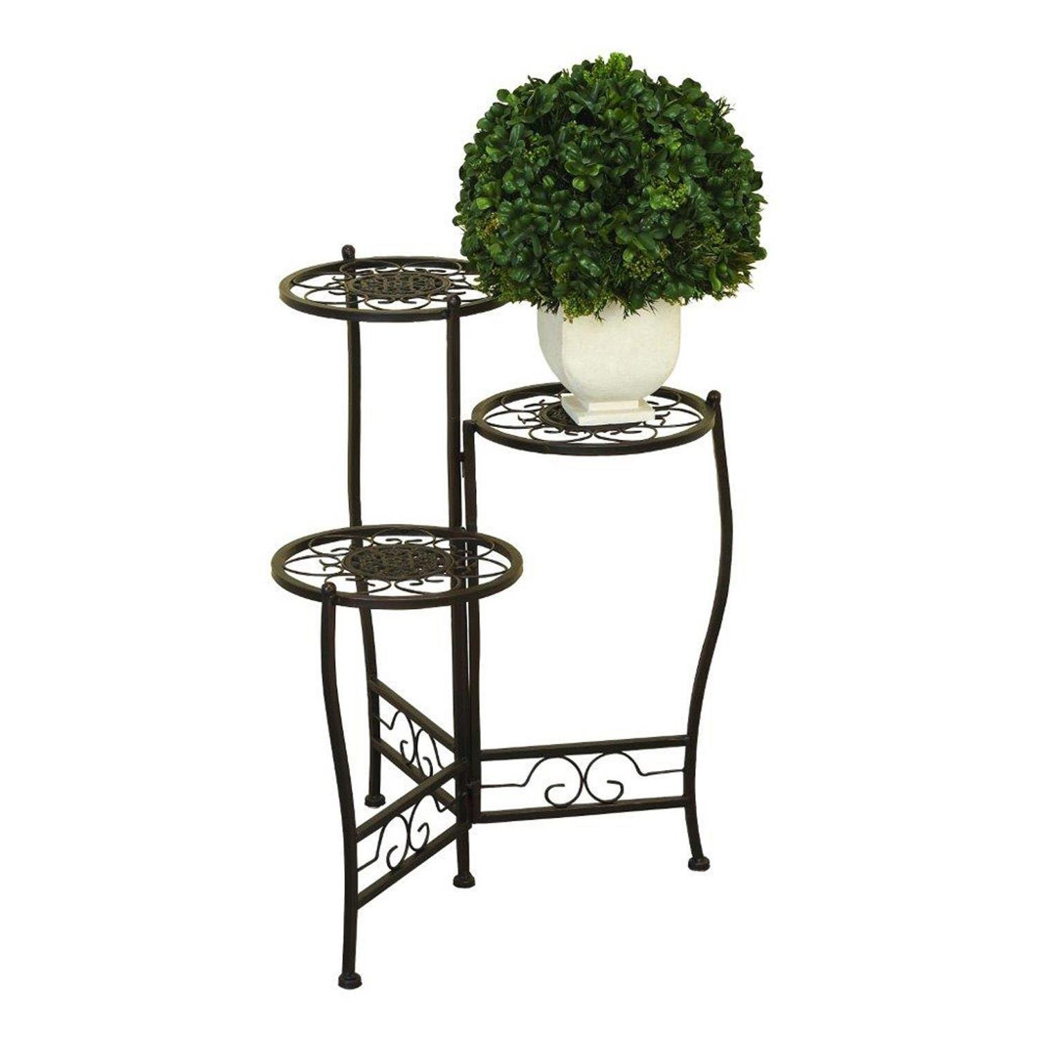 Nesting Plant Stand 3 Tier Iron Black Flower Home Decor
