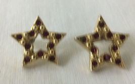 Vintage Star Shape Stud Earrings with Red Stones Gold Tone, Avon Signed. - $5.50