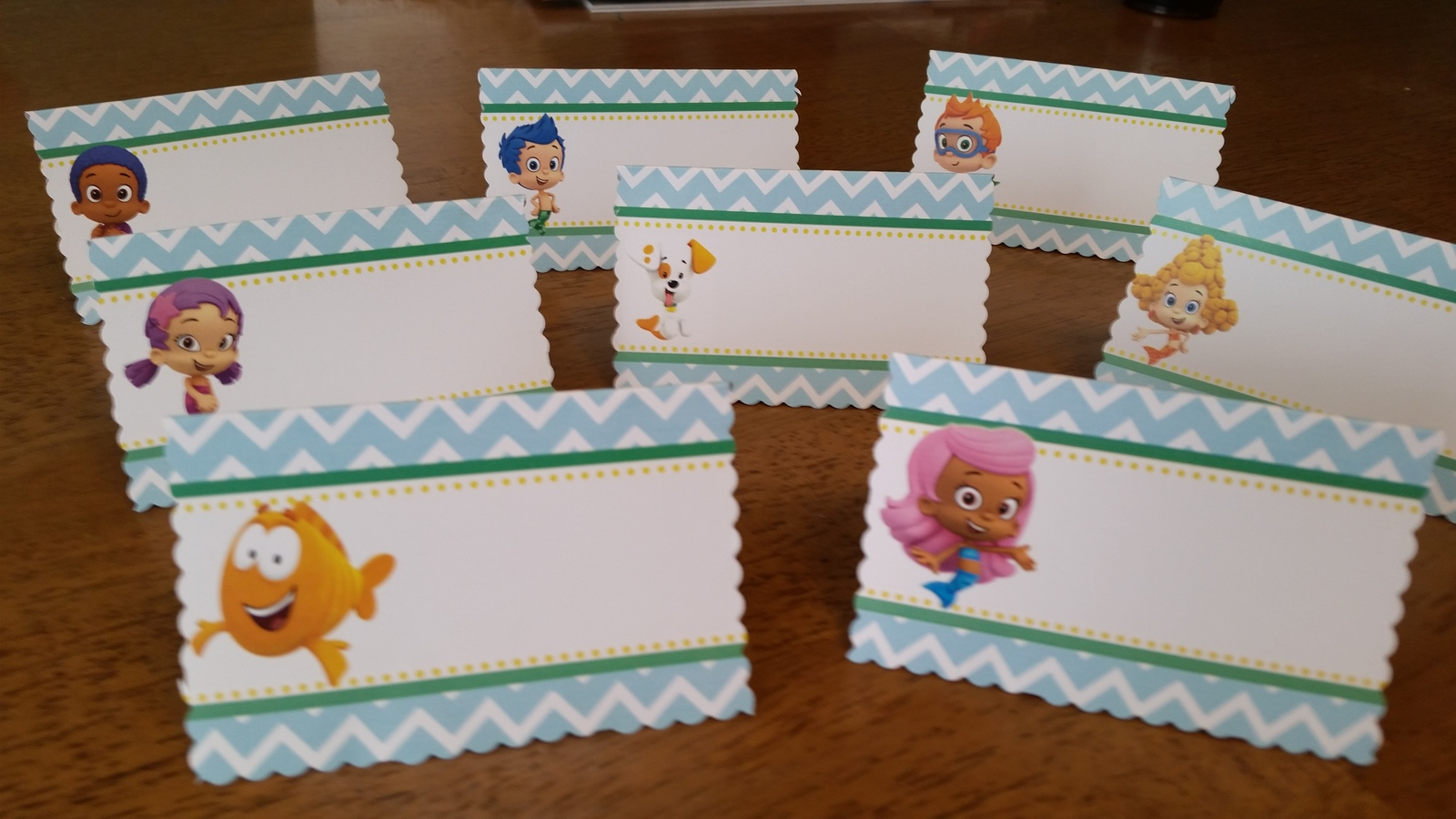 Bubble Guppies food tents for Birthday Party in aqua chevron