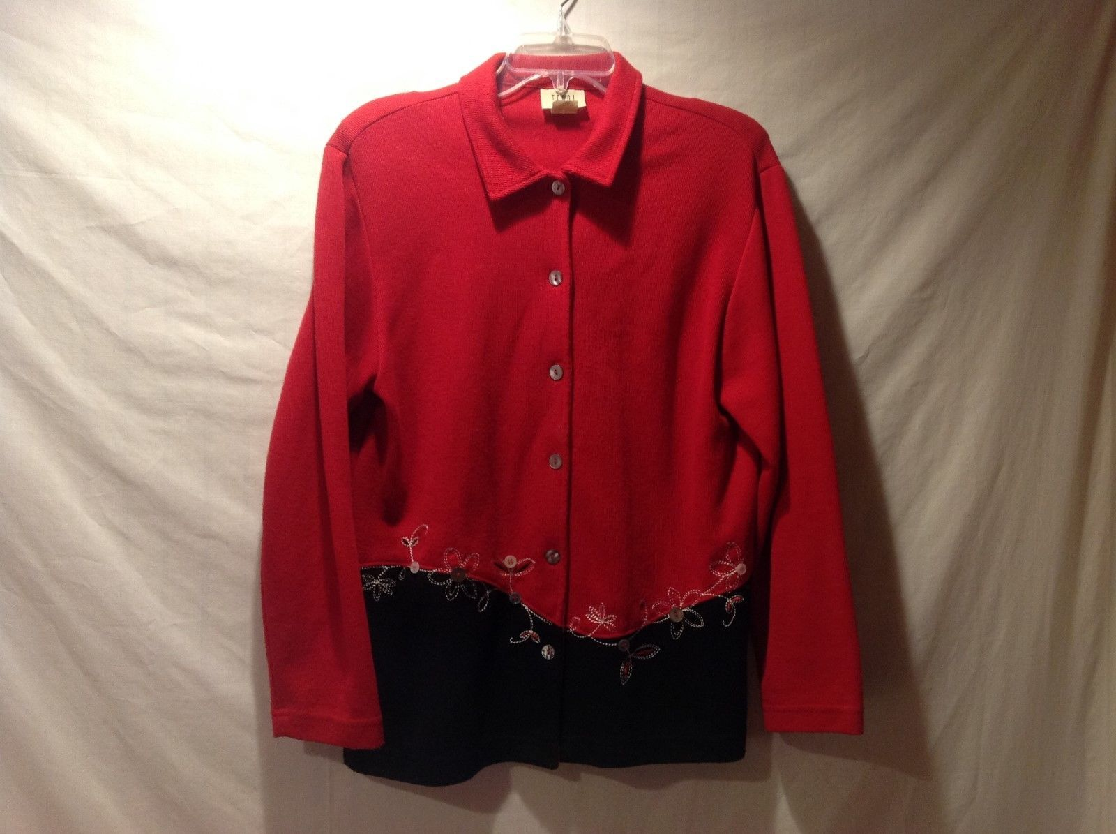 Teddi Red Black Button Up Sweater Cardigan Size Medium