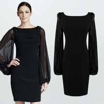 Women Chiffon Midi Long Lantern Sleeve Elegant Bodycon Pencil Dress - $42.95