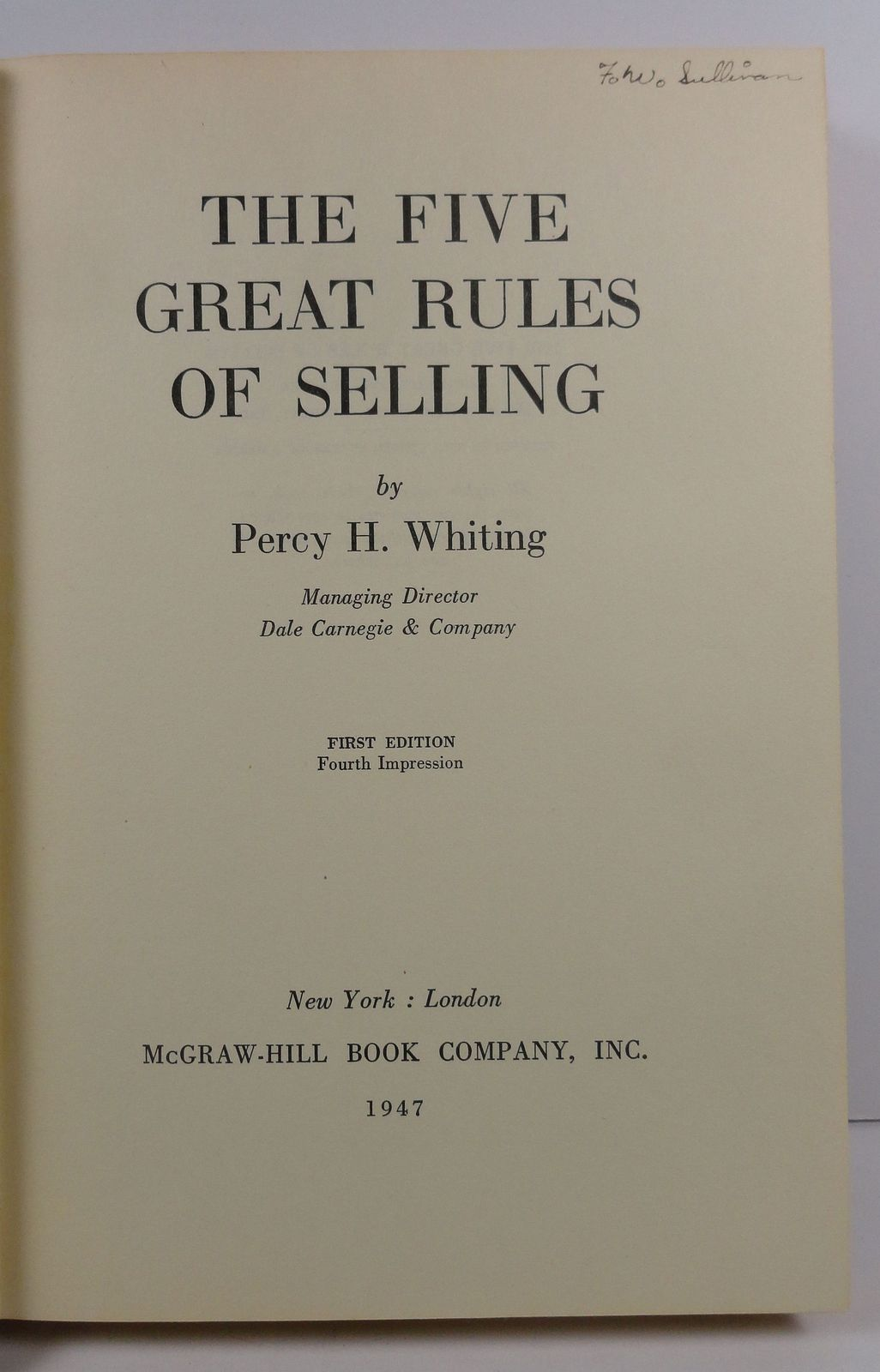 The Five Great Rules of Selling by Percy H. Whiting 1945