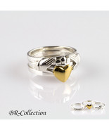 Three Layer Silver Claddagh Ring with Gold Heart - Love, Loyalty, Friendship - $27.95