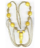 Resin Amber Gold Bead Necklace - $8.31