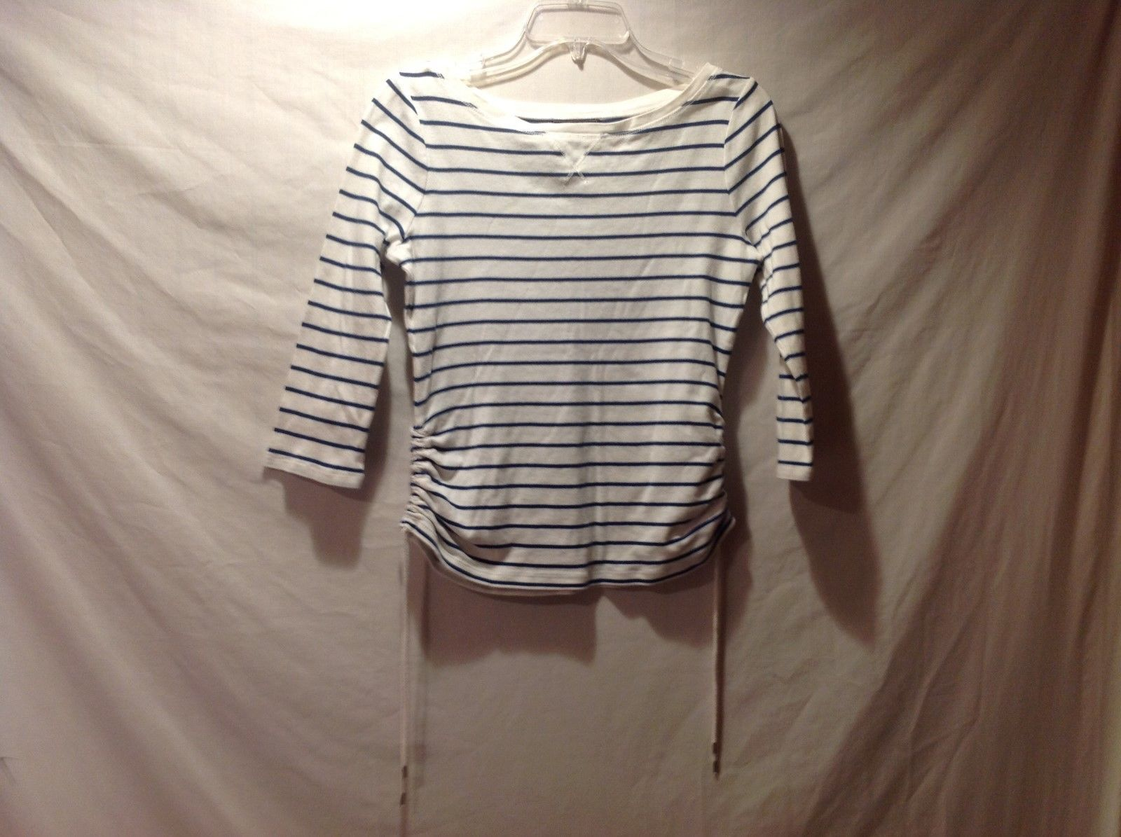 CHAPS Denim 100% Cotton 3/4 Sleeve Striped Top Size Small