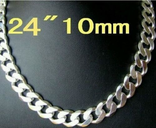 "926 Sterling Silver Flat Mens Chain 24"" 10mm 925 stamp SUPER DEAL!"