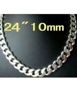 "926 Sterling Silver Flat Mens Chain 24"" 10mm 925 stamp SUPER DEAL! - $28.04"