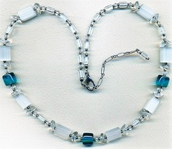 Teal White Opal Glass Beaded Necklace - $8.31