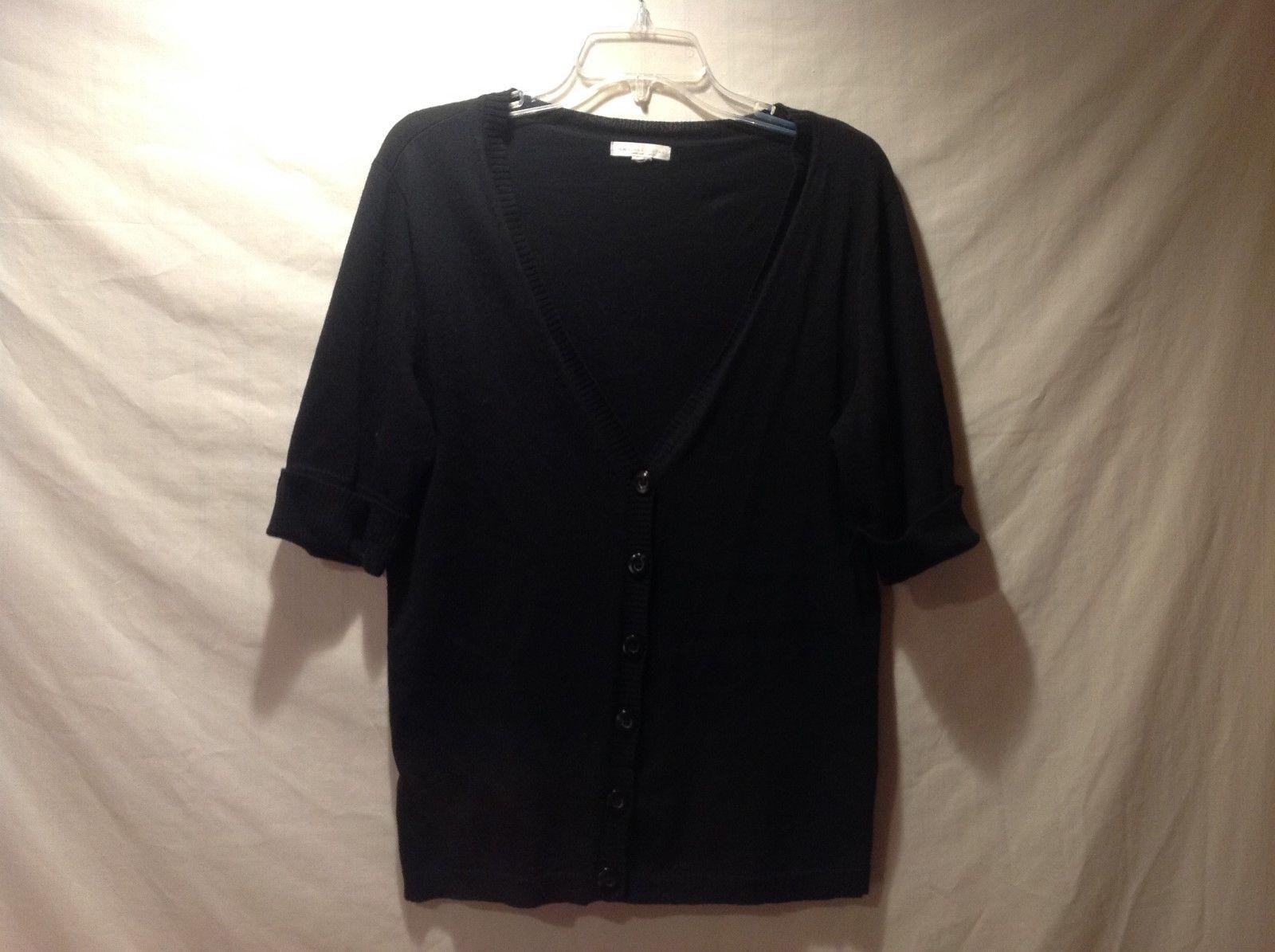 New York & Co. Black Half Sleeve Cardigan Size Large