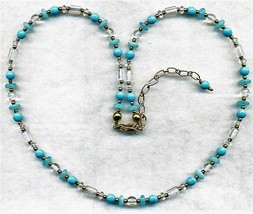 Turquoise Aqua Opal Glass Beaded Necklace - $8.31